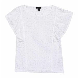 NEW White Lace Flutter Sleeve Top Medium